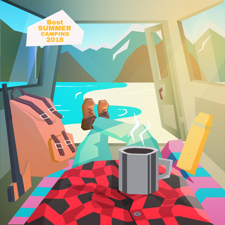 Car camping. Summer camping. View from car interior. Vector illustration
