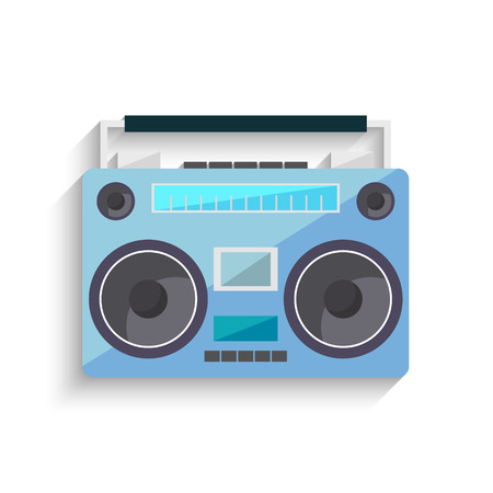 Flat vintage orange tape recorder for audio cassettes. Music boombox. Modern trendy design for music concept. Poster, card, leaflet or banner template design with place for text. Vector illustration. Illustration