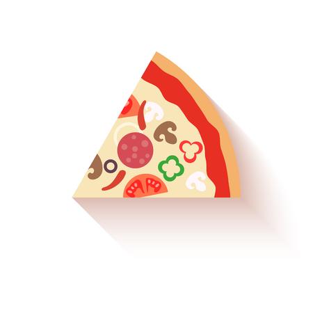 pizza slice: Flat design pizza slice icons isolated on white. Vector illustration