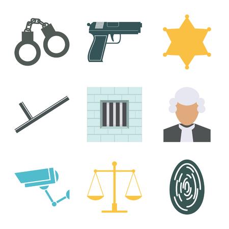 barrister: Crime and police icons set. Flat Design. Vector illustration