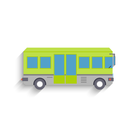 Cool modern flat design public transport items bus, side view, isolated. Vector Illustration
