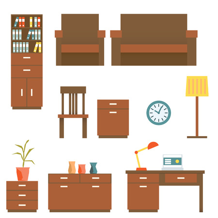 office furniture: Office furniture Flat design Set. Vector illustration