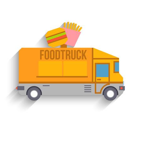 Colorful Food Truck, Flat Design, Vector illustration