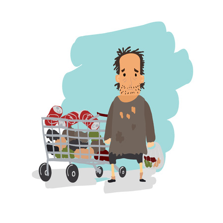 rubbish cart: Homeless. Shaggy man in dirty rags and with a bag in his hand with shopping cart. Vector illustration