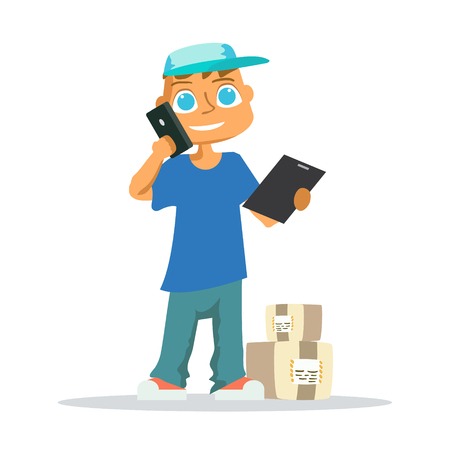 signing: Delivery man in blue uniform holding boxes and documents in different poses. Vector illustration Illustration