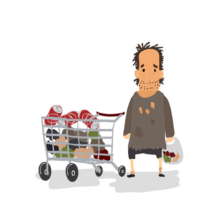 miserable: Cartoon Homeless with Shopping Cart. Vector illustration
