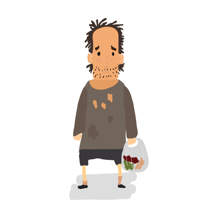 Homeless. Shaggy man in dirty rags and with a bag in his hand. Vector illustration Ilustração