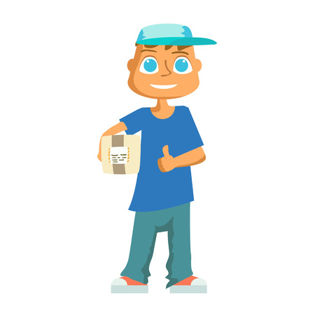 mailmen: Delivery man in blue uniform holding boxes and documents in different poses. Vector illustration Illustration