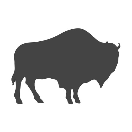 Bison Silhouette isolated on white background. Vector illustration
