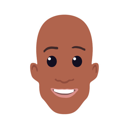 black wigs: Cartoon African-american male face. Vector illustration