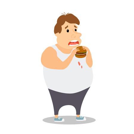 Cartoon Fat Man eating Burger. Vector illustration