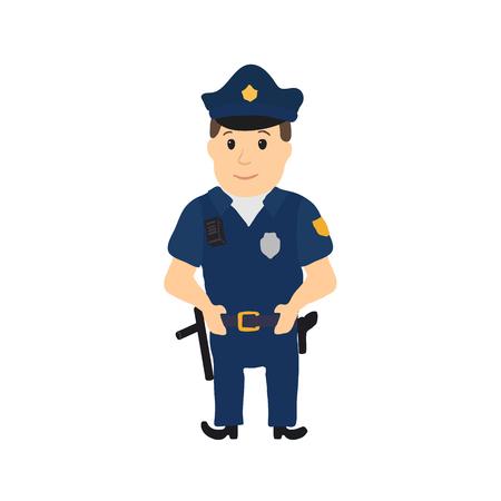 Carattere di poliziotto di cartone animato su sfondo bianco. Illustrazione vettoriale