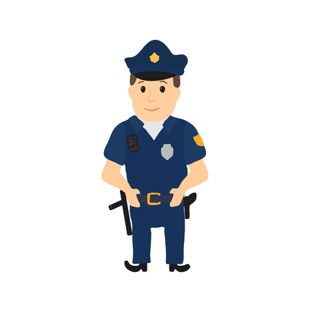 holster: Cartoon policeman character on white background. Vector illustration