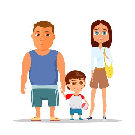Gelukkig gezin vader, moeder en zoon. vector illustratie