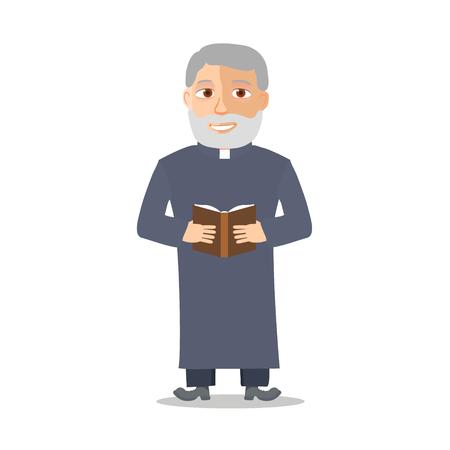 Personaje de dibujos animados del viejo hombre como un cura. ilustración vectorial