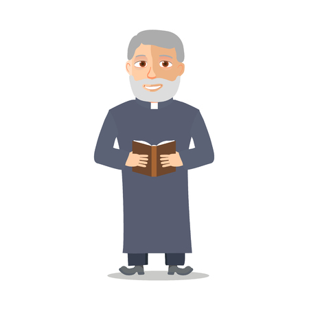 Cartoon Character Old man like a priest. Vector illustration