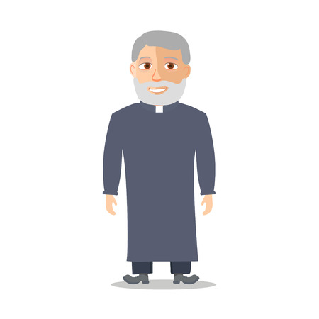 book of revelation: Cartoon Character Old man like a priest. Vector illustration