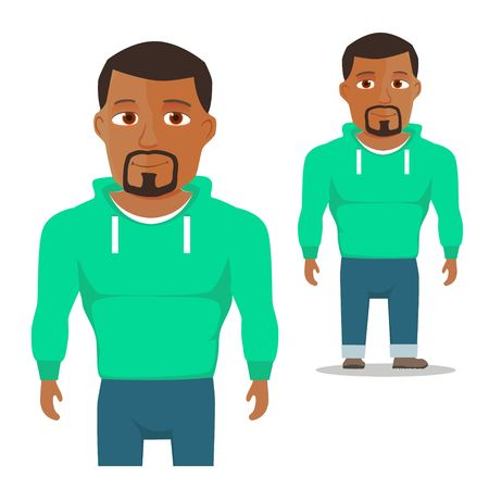 hoody: Black Man in green hoody Cartoon Character. Vector illustration Illustration