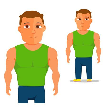 singlet: Man in green singlet Cartoon Character. Vector illustration