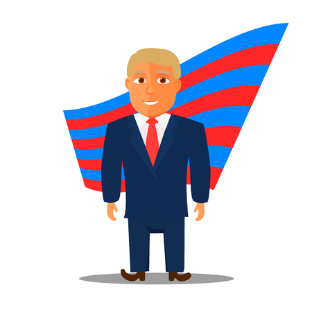 statesman: Cartoon Character Man in Blue Suit for Election. Vector illustration