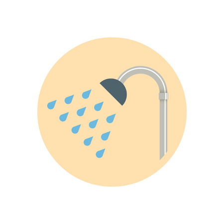Colorful Flat Design Showerhead icon. Vector illustration