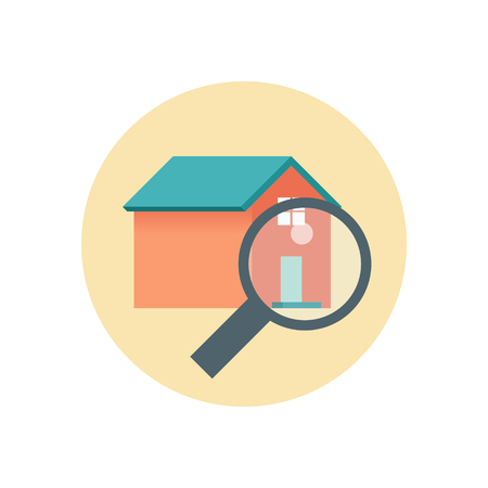 realty: Flat Design Realty Icon Home with Magnifying Glass. Vector illustration