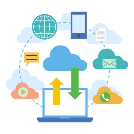 cloud computing services: Web banners for cloud computing services and technology, data storage. Concepts for web design, marketing, and graphic design. Vector illustration