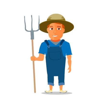 an agronomist: Cartoon Farmer Character with pitchfork. Vector illustration Illustration