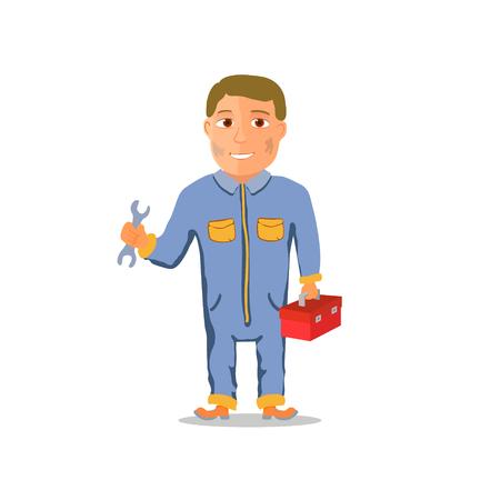 Cartoon Mechanic Car repairman Character. Vector illustration