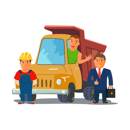 guardsman: Cartoon Businesman with Truck Driver and Builder Characters. Consctruction Team. Vector illustration