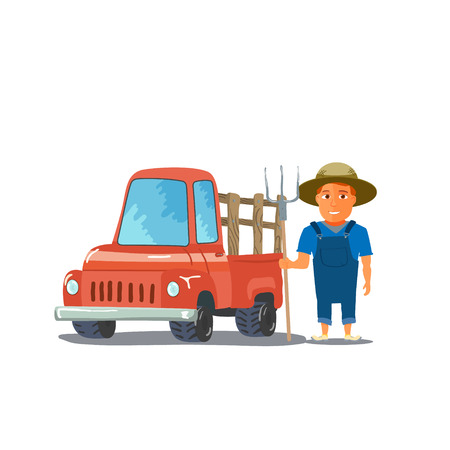 cap hunting dog: Cartoon Farmer Character with red Pickup Truck. Vector illustration