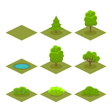 Set of Trees and Bushes Isometric Style for Game. Vector illustration