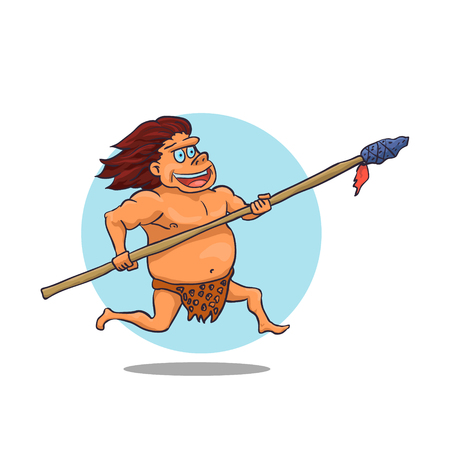 spear: Cartoon Male Caveman Character with spear
