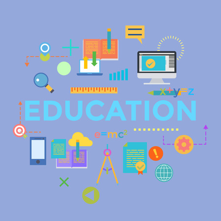 customize: Concepts of word education. Flat design banner for website and mobile website, easy to use and highly customize.