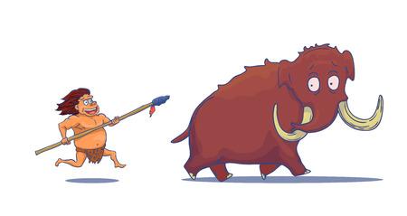 Caveman Cartoon avec Spear chasse Mammoth