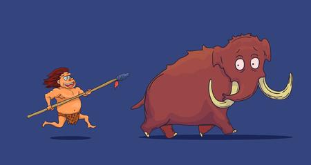 Cartoon Caveman with Spear hunting Mammoth.