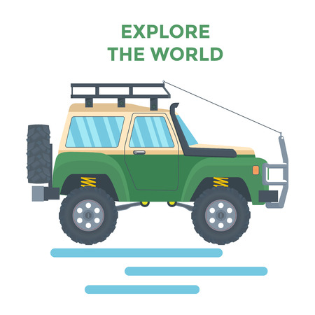 Offroad Vehicle with mud tire and roof rack Illustration