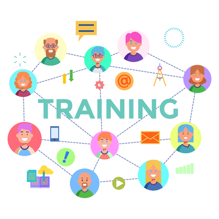 customizable: Concepts of word training. Flat design banner for website and mobile website, easy to use and highly customizable.