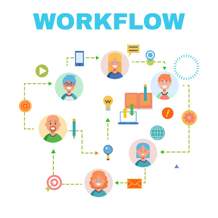 workflow: Flat design banner for workflow web page