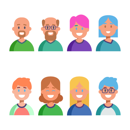 human age: Flat design colorful icons collection of people avatars for profile page, social network, social media, different age man and woman characters, professional human occupation, portfolio. Vector illustration Stock Photo