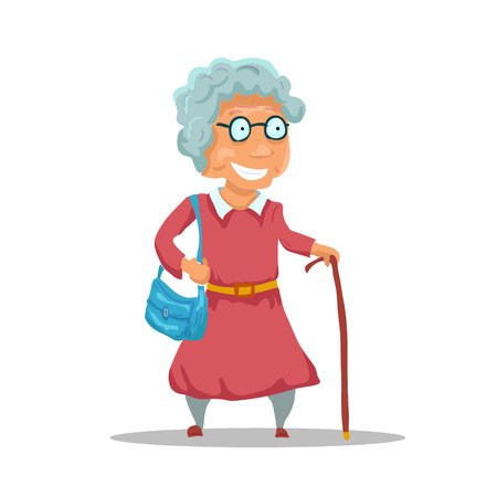 Cartoon Old Lady Character isolated on white background. Vector illustration
