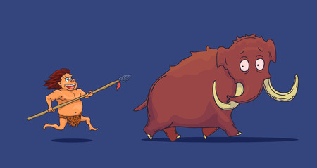 Cartoon Caveman with Spear hunting Mammoth. Vector illustration