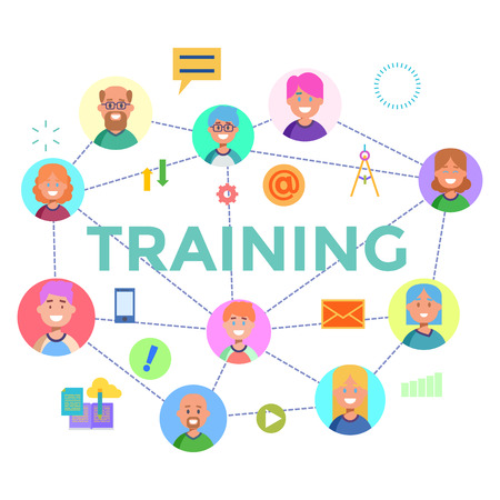 Concepts of word training. Flat design banner for website and mobile website, easy to use and highly customizable. Vector illustration