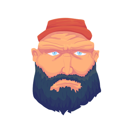 englishman: Cartoon Brutal Man Face with Beard and Red Hat. Vector illustration