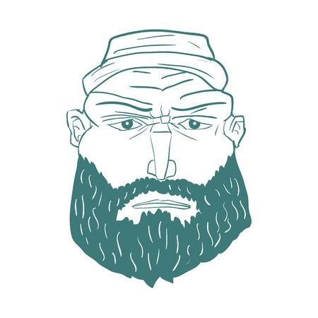 Cartoon Brutal Man Face with Beard. Vector illustration