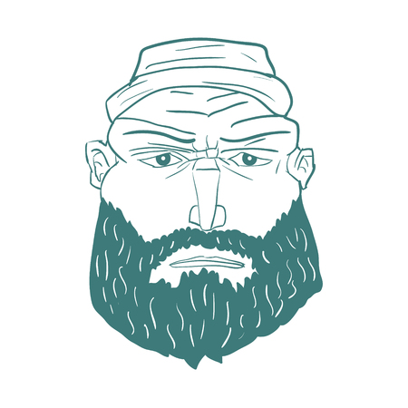 Cartoon Brutal Man Face with Beard. Vector illustration