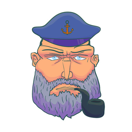 captain cap: Cartoon Captain sailor face with Beard, Cap and Smoking Pipe. Vector illustration