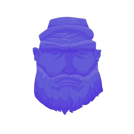 style goatee: Cartoon Brutal Man Face with Beard. Vector illustration