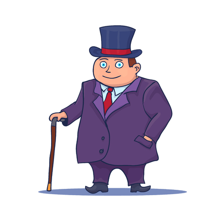 Cartoon Businessman Character with Cane and Top Hat. Vector illustration