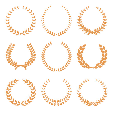 famous actress: Vector gold award wreaths, laurel on white background. Vector illustration Illustration